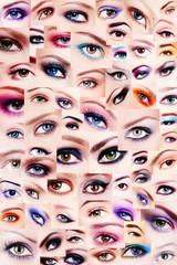Background of plenty beautiful women's eyes with trendy colorful make-up. Winged eyes, smoky eyes, false eyelashes. Collage.