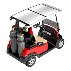 Golf car back view isolated on white. 3D rendering