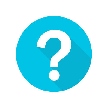 Question mark flat design icon with long shadow vector