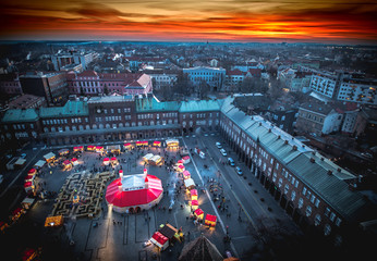 Szeged Advent Christmas Market aerial view at sunset. Panoramic HDR image from the clock tower of the Votive Church.