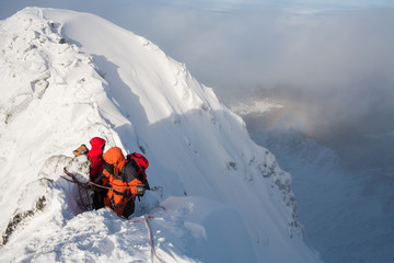 Poster Helicopter Mountaineering. Teamwork in alpinism. Traverse of mountain.