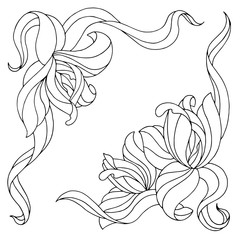 Abstract flowers graphic set black white isolated illustration vector