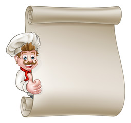 Cartoon Chef Menu Scroll