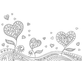 Pattern doodle black white heart graphic background illustration vector