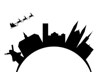 Santa flying over the city amsterdam