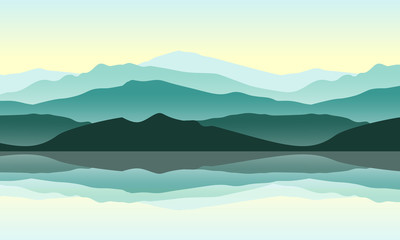 Green mountains landscape with reflection in the water. Vector illustration of nature. Outdoor and traveling concept.