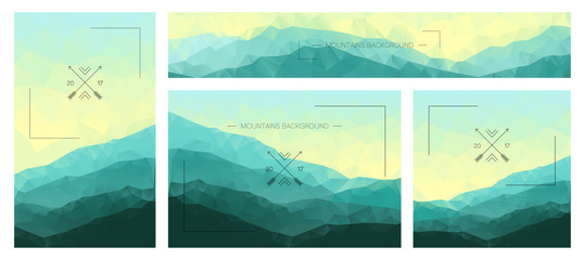 Polygonal mountains backgrounds. Set of stylish nature landscapes. Design of flyers, banners, brochures or cards with green polygonal ridges. Corporate identity templates. Nature vector illustration.