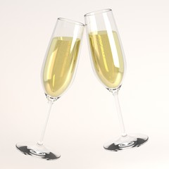 3d render of raising glass of champagne