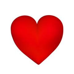 Red heart isolated on white background . Vector illustration