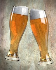 3d render of raising glass of beer
