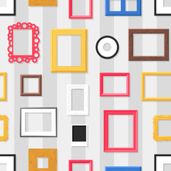 Photo frame seamless pattern vector.