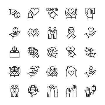 Charity, sponsorship,donation and donor icon set in thin line style. Vector symbols.