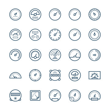 Meter vector icons in thin line style.