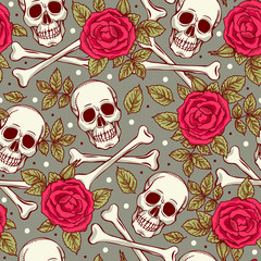 Seamless pattern with skull and roses. Freehand drawing
