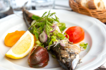 grilled seafood and vegetables-french cuisine dish with many veg