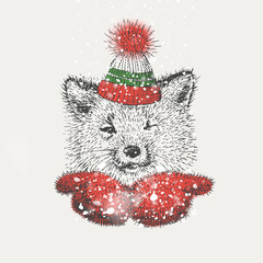 cute Fox mittens and a knitted hat blows the snow. freehand drawing. vector. postcard