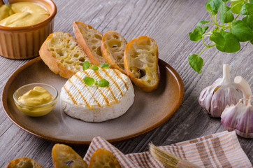 Grilled camembert with dijon mustard