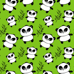Seamless decorative vector background with pandas. Print. Cloth design, wallpaper, packaging paper.