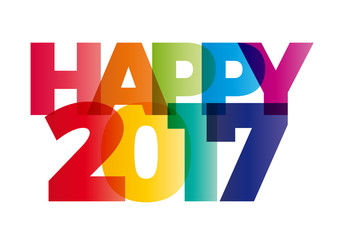 happy new year 2017 creative colorful text