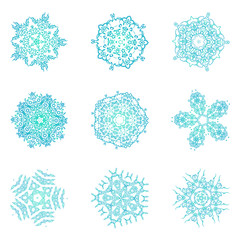 Set of snowflakes for the new year