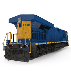 Diesel-electric locomotive on white. 3D illustration