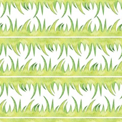 Seamless border with grass. Watercolor pattern 7.  Element for design