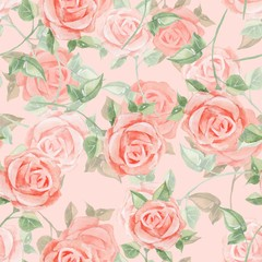 Romantic roses. Seamless floral pattern 15. Watercolor painting