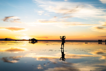 Sunset at Uyuni salt lake