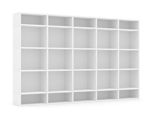 Empty bookshelf or store rack, isolated