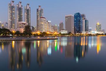 Reflection Bangkok city building lights night view