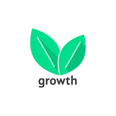 growth logo with green leafs