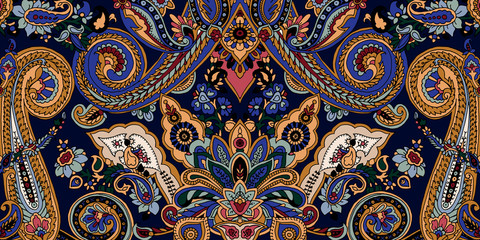 Abstract geometric paisley pattern. Traditional oriental ornament. Vibrant colors on navy blue background. Textile design.