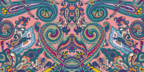 Abstract geometric paisley pattern. Traditional oriental ornament. Vibrant colors on pink background. Textile design.