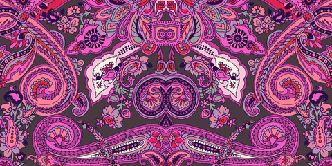 Abstract geometric paisley pattern. Traditional oriental ornament. Vibrant colors on taupe background. Textile design.