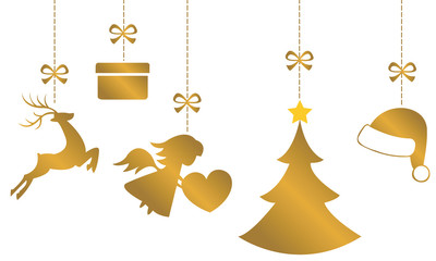 Vector Hanging Christmas Ornaments Of Gold