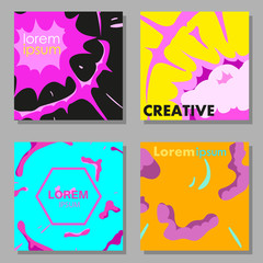 Colorful abstract vector backgrounds set. Design industry for posters, placards,banners, flyers, covers templates. Hand drawn vector illustration.