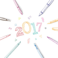 Beautiful letters. 2017 New Year in frame of pens.Hand drawn Vector illustration.