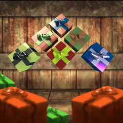 Colorful and striped boxes with gifts tied bows on wooden board background. Happy new year 3d illustration.