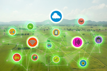 internet of things industrial agriculture,smart farming concepts,the various farm technology in the futuristic icom on the field background ict(information communication technology)