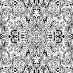 Abstract geometric paisley pattern. Traditional oriental ornament. Black outline on white background. Textile design.