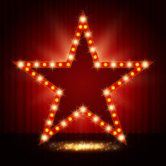 Star retro light banner on curtain background