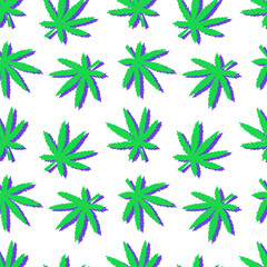 Seamless vector colored pattern hemp leaf. Hand drawing texture ganja