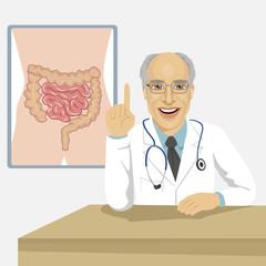 senior male doctor showing abdominal region on board