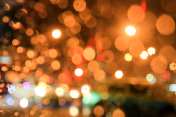 De focus or blurred raindrops on window background with bokeh