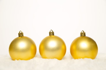 Yellow Christmas decoration on white