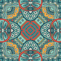 Abstract vintage ethnic geometric mosaic seamless pattern