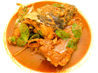 Cooking for chili fish head curry