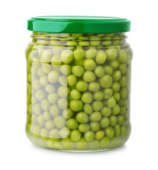 Glass jar of green peas