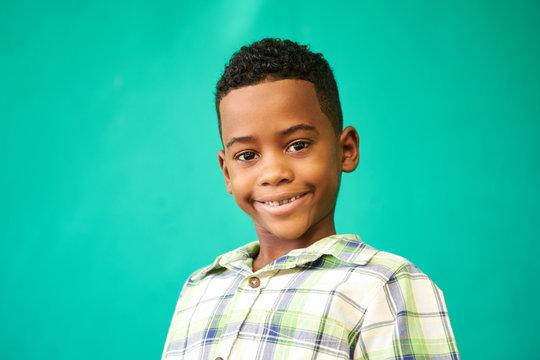 Children Portrait Young Boy Smiling Happy Black Male Child