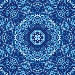 ornamental blue seamless doodle graphic background